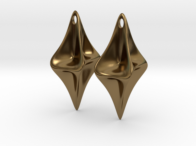 Pinched Silver Earrings 3d printed
