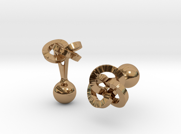 Trefoil Cufflinks 3d printed Close-up [Polished Silver]