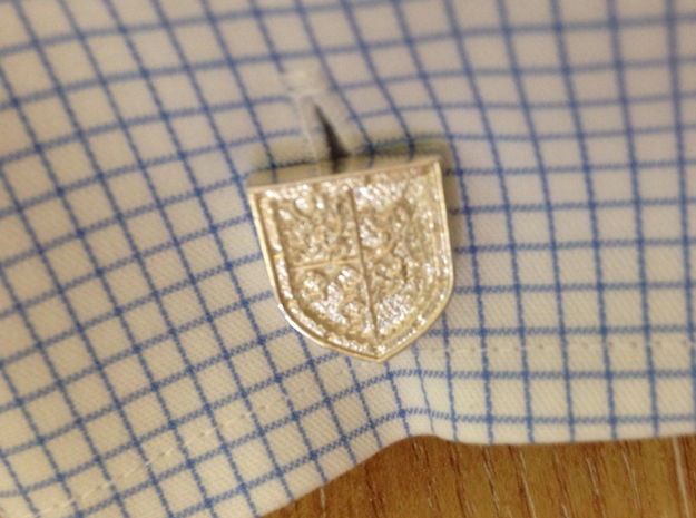 Heraldic Cufflinks [Stewart-Melville] 3d printed Use (Front) [Polished Silver] (Courtesy of Maganator)