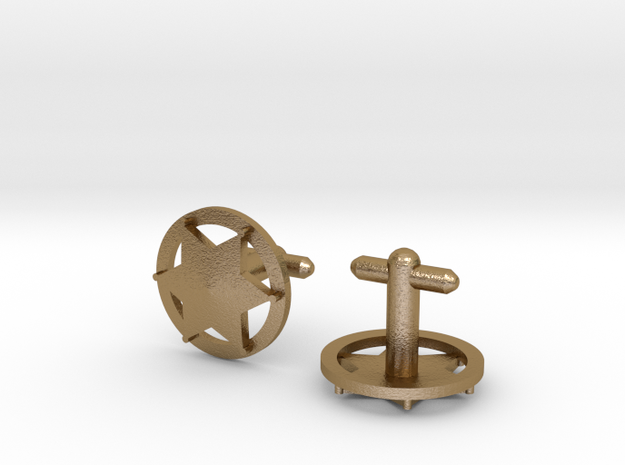 Sheriff's Star Cufflinks (Style 3) 3d printed