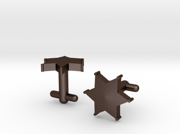 Sheriff's Star Cufflinks (Style 2) 3d printed