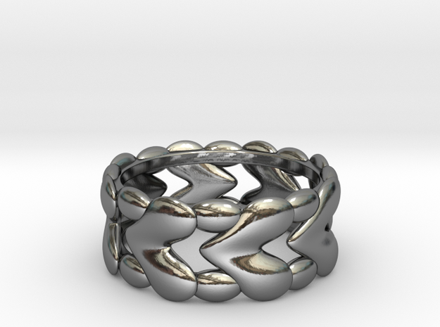 8 Hearts Ring (Size 18) 3d printed