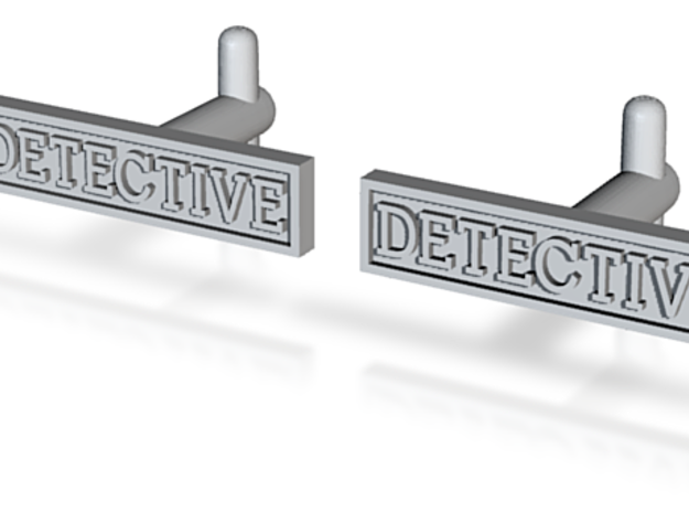 Detective Cufflinks (Style 2) Silver/Brass/Bronze 3d printed