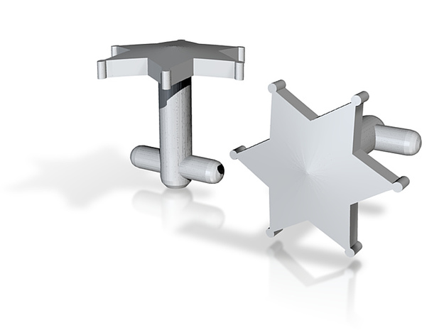 Sheriff's Star Cufflinks (2) Silver,Brass,or Gold 3d printed