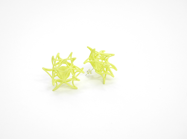 Aster Earrings (Studs) 3d printed Custom Dyed Color (Key Lime)