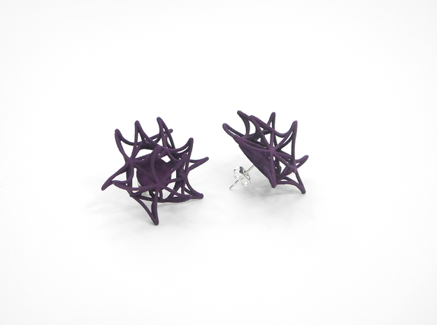 Aster Earrings (Studs) 3d printed Custom Dyed Color (Midnight)