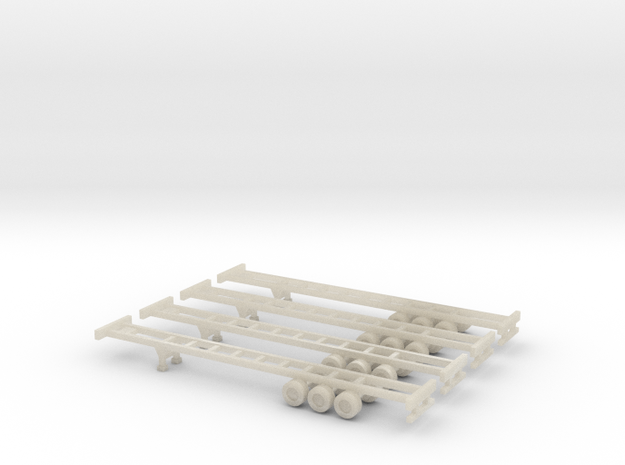 53 foot Container Chassis - Set of 4 - Z scale 3d printed