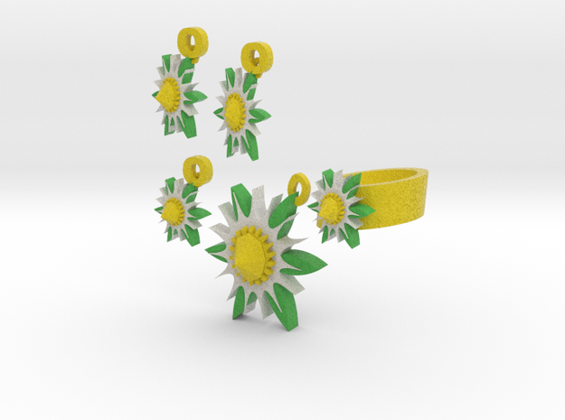 Lazy Daisy Jewelry Set 3d printed