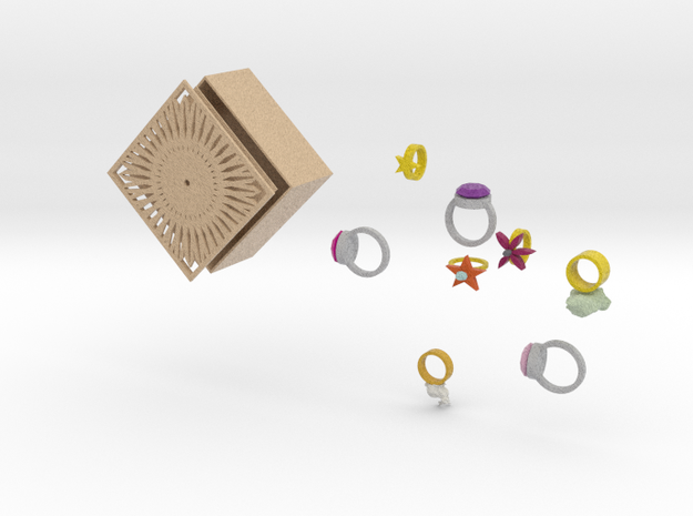 jewelry box and ring set 3d printed