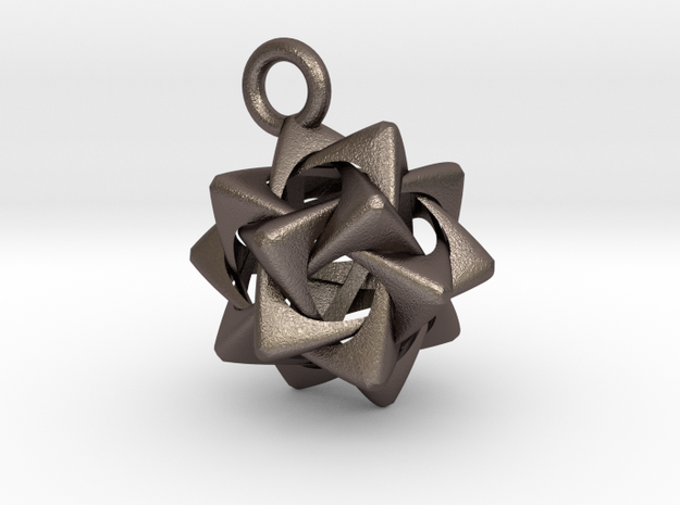 Compound of Five Rounded Tetrahedra Pendant 3d printed