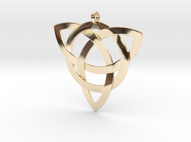 Large Celtic Knot Pendant (Inverted Triquetra) 3d printed Polished bronze finish, (chain not included)