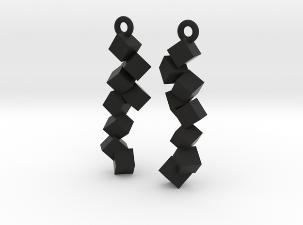 Earrings Falling cubes 3d printed