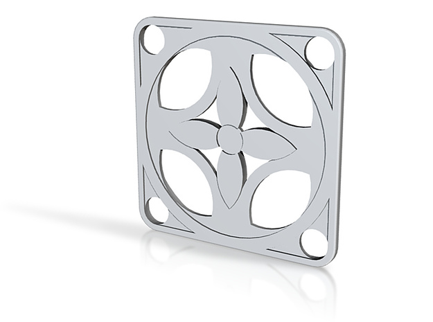 Square Pendant or Charm - Four Petal Flow 3d printed
