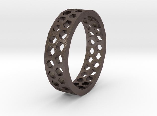 Hexagon Pattern Ring - Size 12 - Double Layer 3d printed