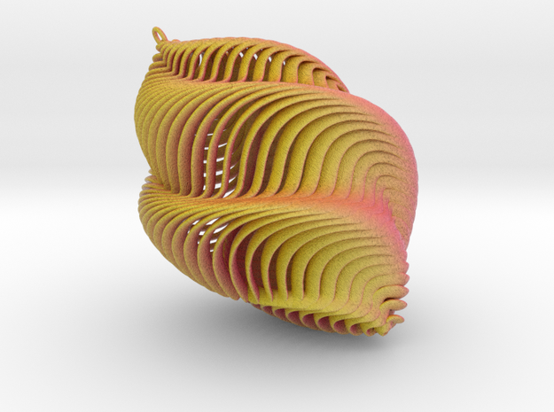 Mathematical Mollusca - Small Yellow/Red Shell Orn 3d printed