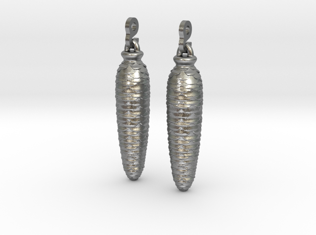 Cuckoo Weight Earrings 3d printed Detail (Chains & Earhooks attached [NOT INCLUDED]) [Polished Silver]