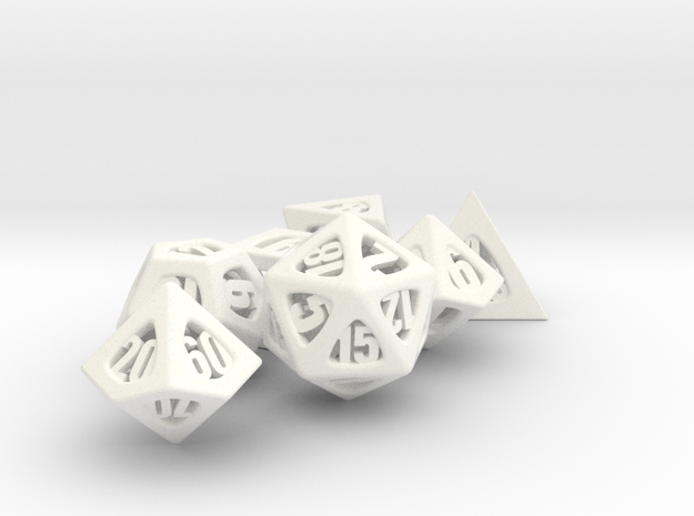 Thoroughly Modern Dice Set with Decader 3d printed