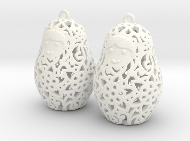 Matryoshka Earrings 3d printed