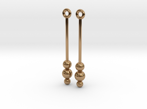 Three Orbs - Earrings - Silver or Brass 3d printed