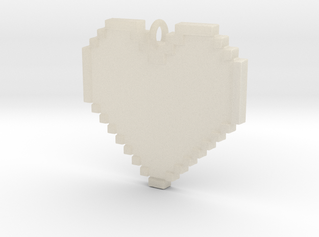 Pixel Heart Necklace Pendant or Ornament FIXED 3d printed