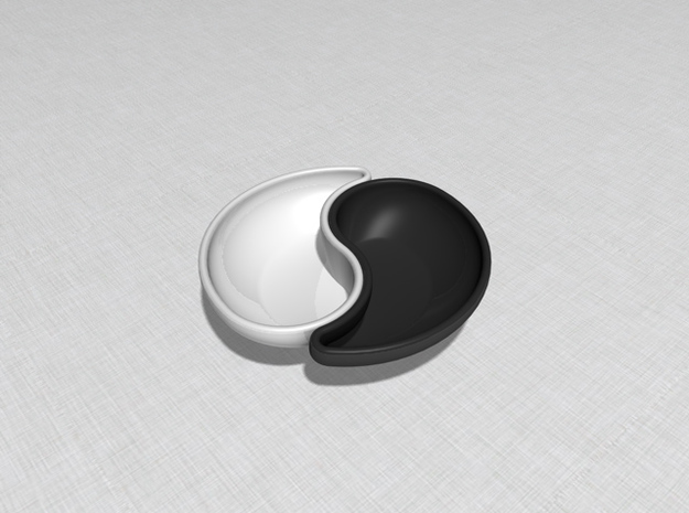 Yin Yang Sauce Bowl 3d printed Showing two together, one in black, one in white.
