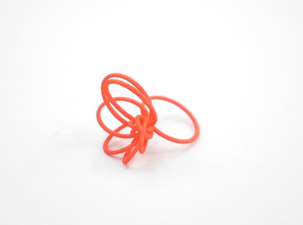 Flora Ring A (Size 8) 3d printed Custom Dyed Color (Coral)