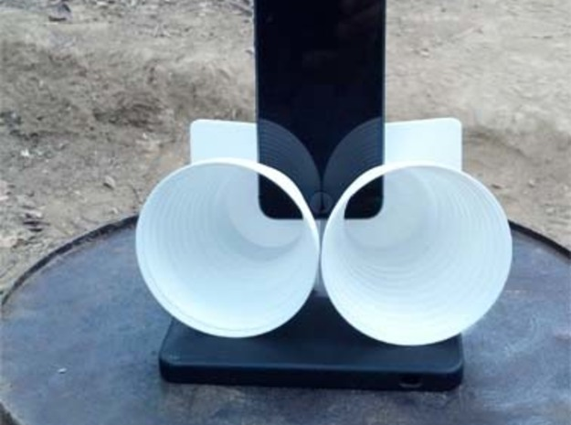 iPhone5 Stereo Acousticup Collapsible Amplifier 3d printed Base Bucket sold separately