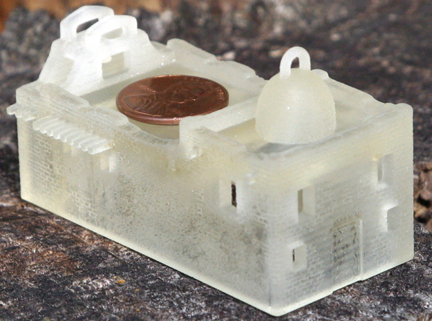 Z Scale Adobe Mission 3d printed FUD print from the back with a penny for scale.