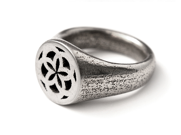 Ornament Ring 3d printed Stainless Steel