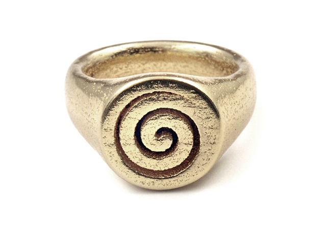Spiral Ring 3d printed Gold Plated Glossy