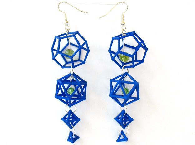 Platonic Progression Earrings - Clean 3d printed Printed in blue strong and flexible, with a few extra components added by hand.