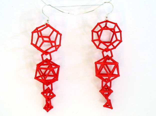 Platonic Progression Earrings - Clean 3d printed Printed in red strong and flexible, with earwires added