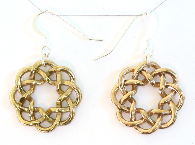 Woven Starburst Earrings - Small 3d printed Printed in polished brass, with earring findings added