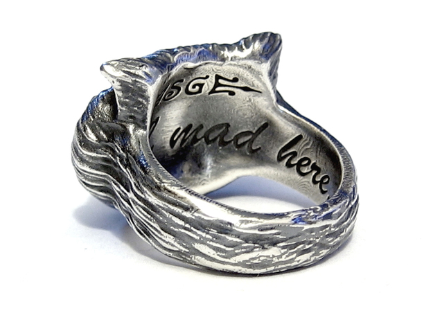 Cheshire Cat Ring 3d printed Raw Silver - Aftermarket Patina and lightly polished afterwards