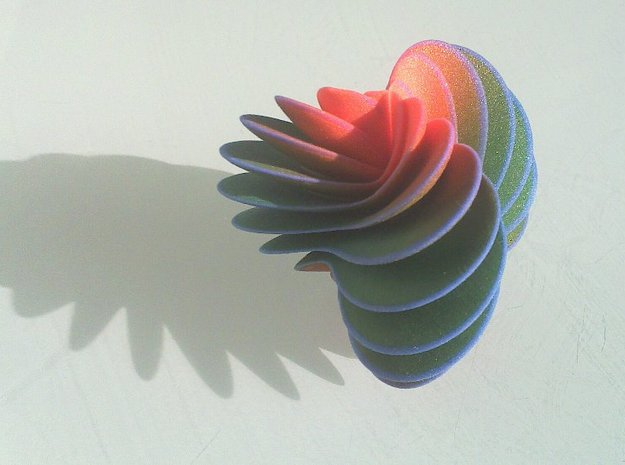 Spiral Fan 3d printed From the side, in the evening