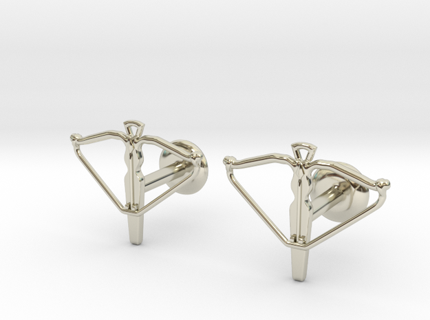 Crossbow cufflinks 3d printed Watch the video below!