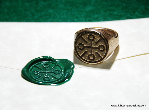 Custom Signet Ring 3d printed Custom symbol designed for a Mr. Raisher