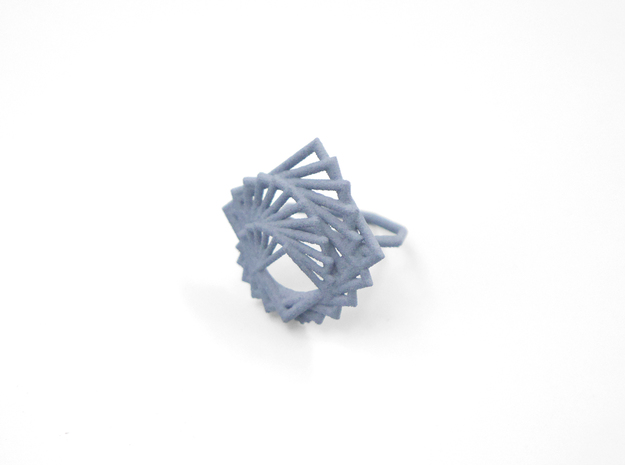 Arithmetic Ring (US Size 8) 3d printed Azurite Nylon (Custom Dyed Color)