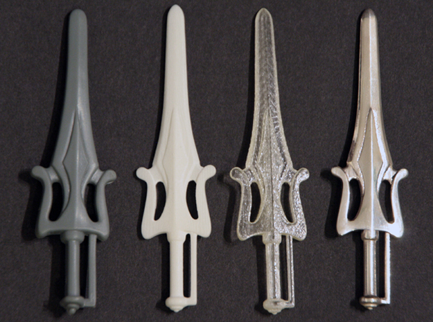Power Sword 3d printed Original, White Detail, Transparent Detail, Silver Glossy