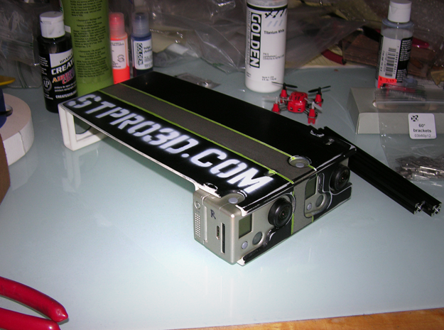 GoPro Stereoscopic attachment 3d printed Custom Paint!