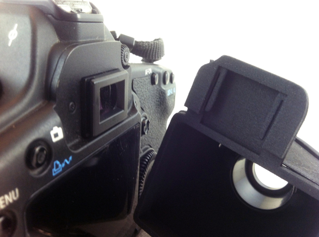 LVH 5D MKIIv1 adapter 3d printed Slides onto the eyecup bracket of the Canon 5D MKII. Does not interfere with any camera controls.