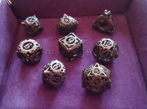 Steampunk Gear Dice Set 3d printed Customer photograph of Matte Bronze Steel