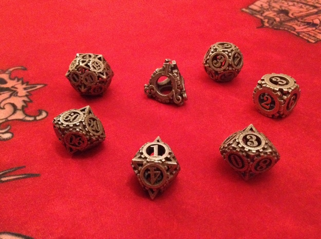 Steampunk Gear Dice Set 3d printed Customer photograph of Stainless Steel