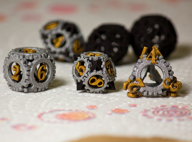Steampunk Gear Dice Set 3d printed Customer photograph of Black Strong & Flexible painted by a user, comments below