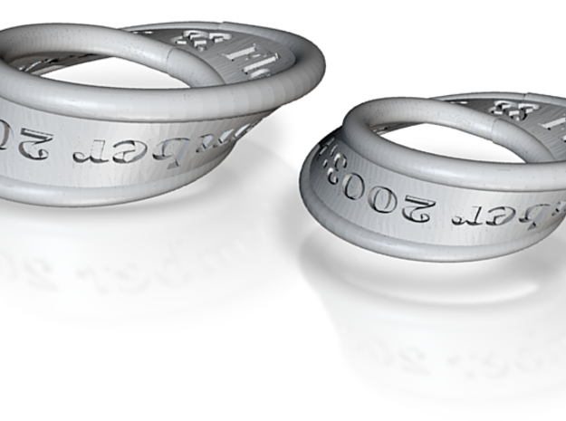 Mobius His & Hers Rings with Continuous Text 3d printed