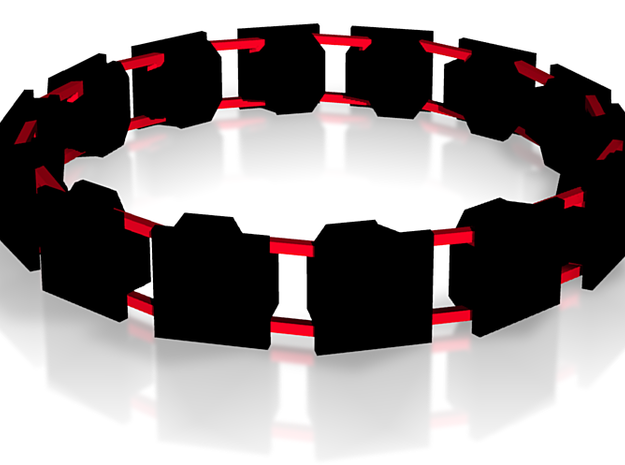 CUBERI Bracelet No.2 Women's BLACK AND RED 3d printed