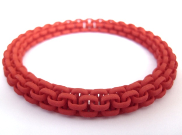 Scoobie Bracelet (New) 3d printed Side view in Red Strong and Flexible
