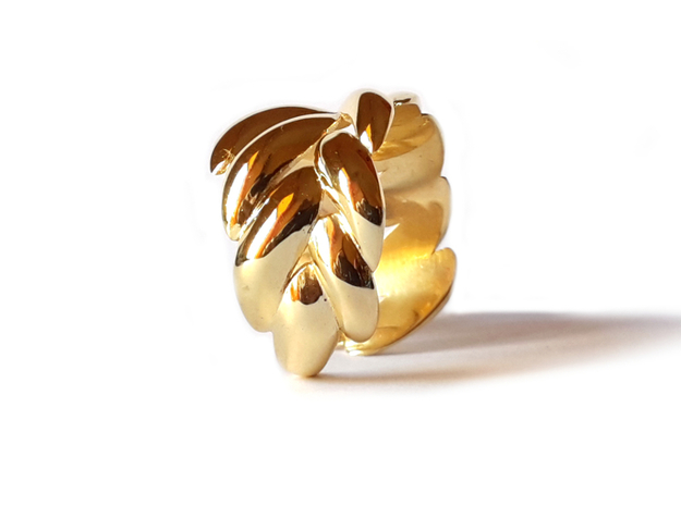 """SPIGA"" Ring US Size 8 (18.2 mm) 3d printed Gold Plated Brass"