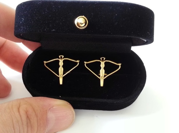 Crossbow cufflinks 3d printed