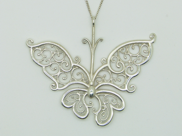 Silver Filigree Butterfly. 3d printed